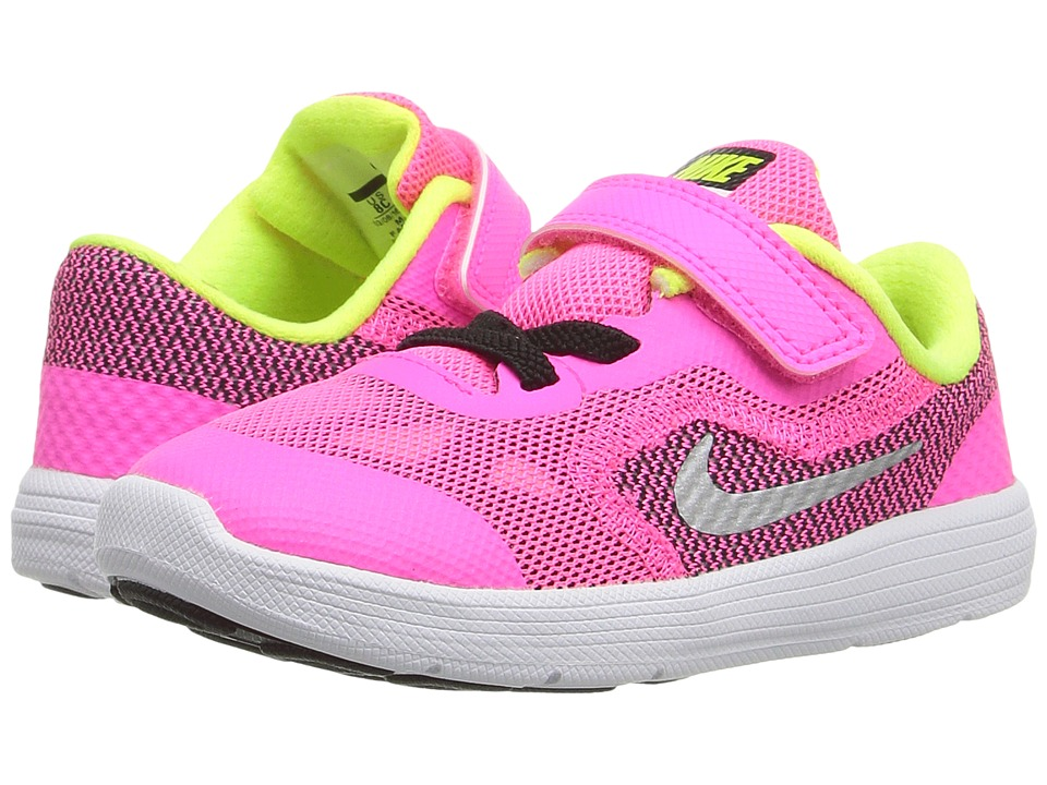 Nike Kids - Revolution 3 (Infant/Toddler) (Pink Blast/Black/White/Metallic Silver) Girls Shoes