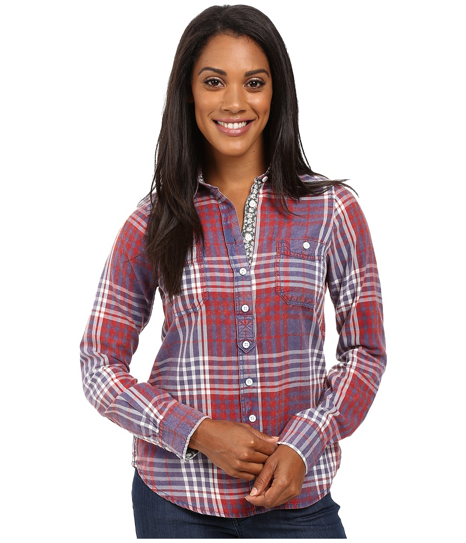 Aventura Clothing - Maya Long Sleeve Shirt (Blue Indigo/Gypsy Red) Women's Long Sleeve Button Up
