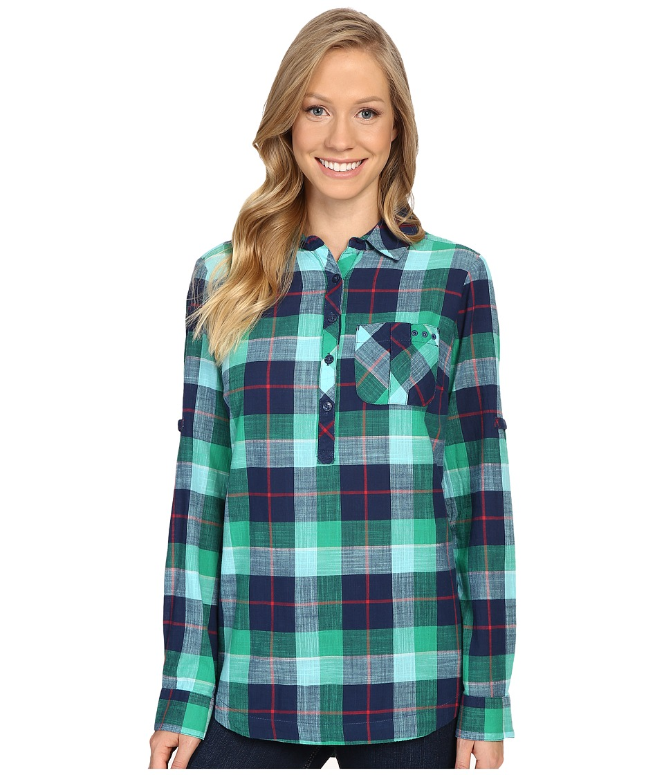 Columbia - Coral Springs II Woven Long Sleeve Shirt (Collegiate Navy Plaid) Women's Long Sleeve Button Up