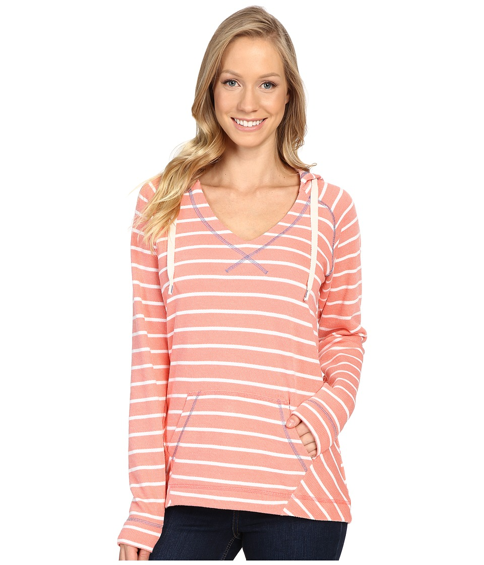 Columbia - Tropic Haven Stripe Hoodie (Hot Coral Stripe) Women's Sweatshirt