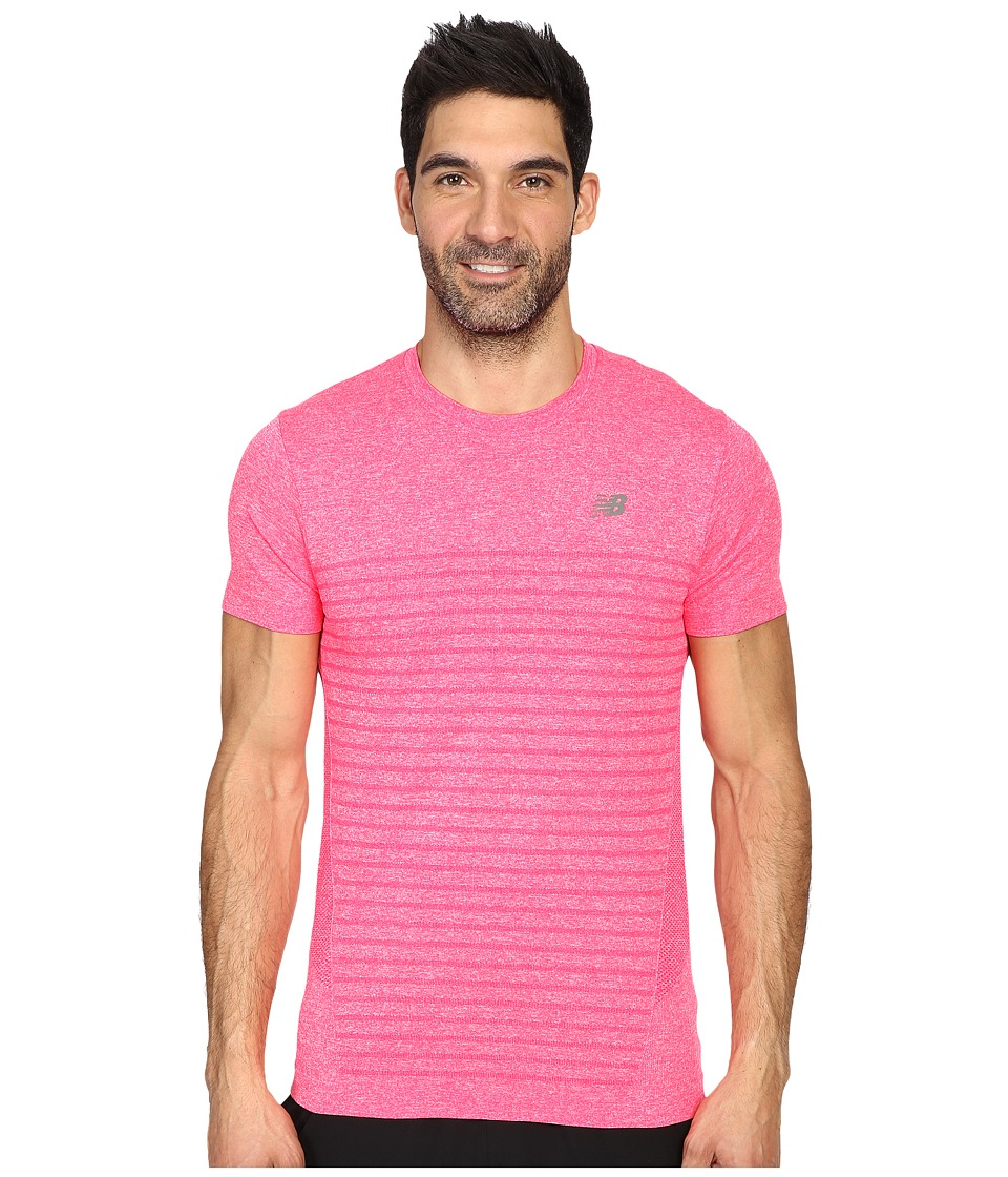 New Balance - M4M Seamless Short Sleeve Top (Bright Cherry Heather) Men's Short Sleeve Pullover