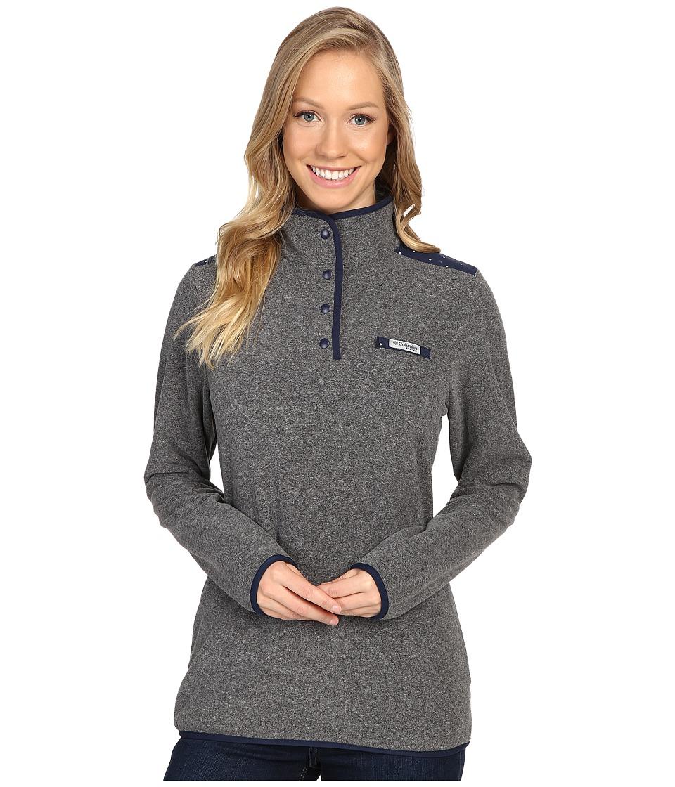Columbia - Harborside Overlay Fleece Pullover (Cool Grey Heather/Collegiate Navy Dot/Collegiate Navy) Women's Long Sleeve Pullover