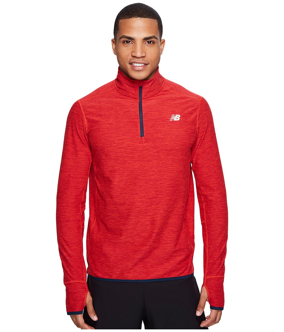 New Balance - Space Dye Quarter Zip (Atomic Heather/Black) Men's Long Sleeve Pullover