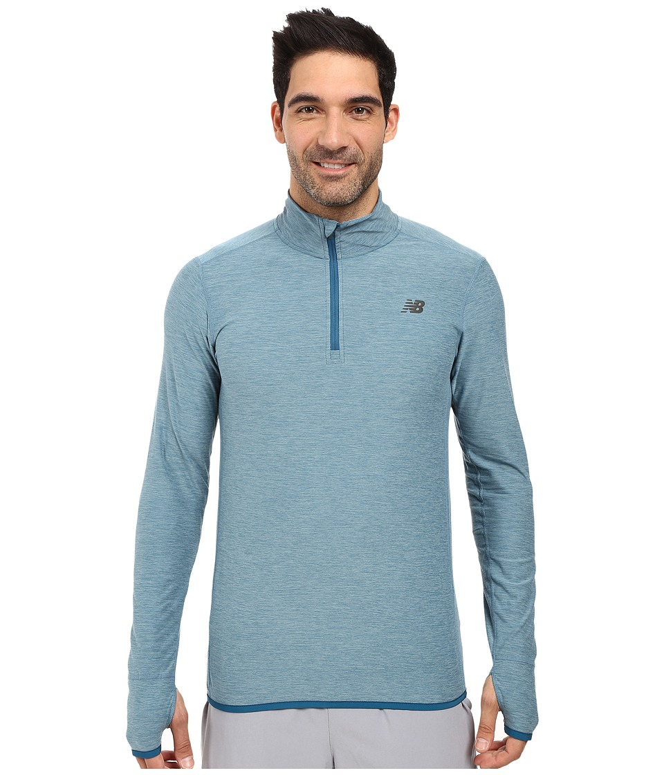 New Balance - Space Dye Quarter Zip (Riptide Heather/Firefly) Men's Long Sleeve Pullover