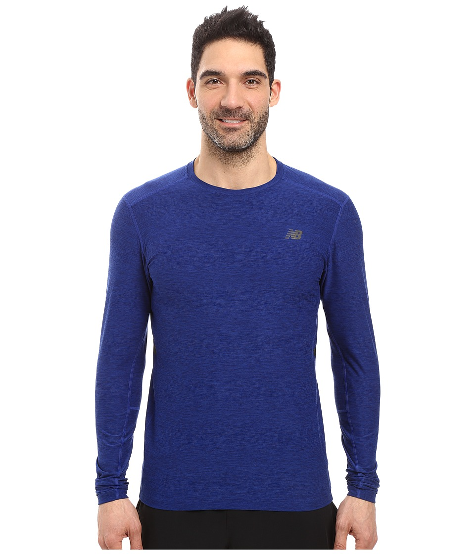 New Balance - Transit Long Sleeve Top (Marine Heather) Men's Long Sleeve Pullover