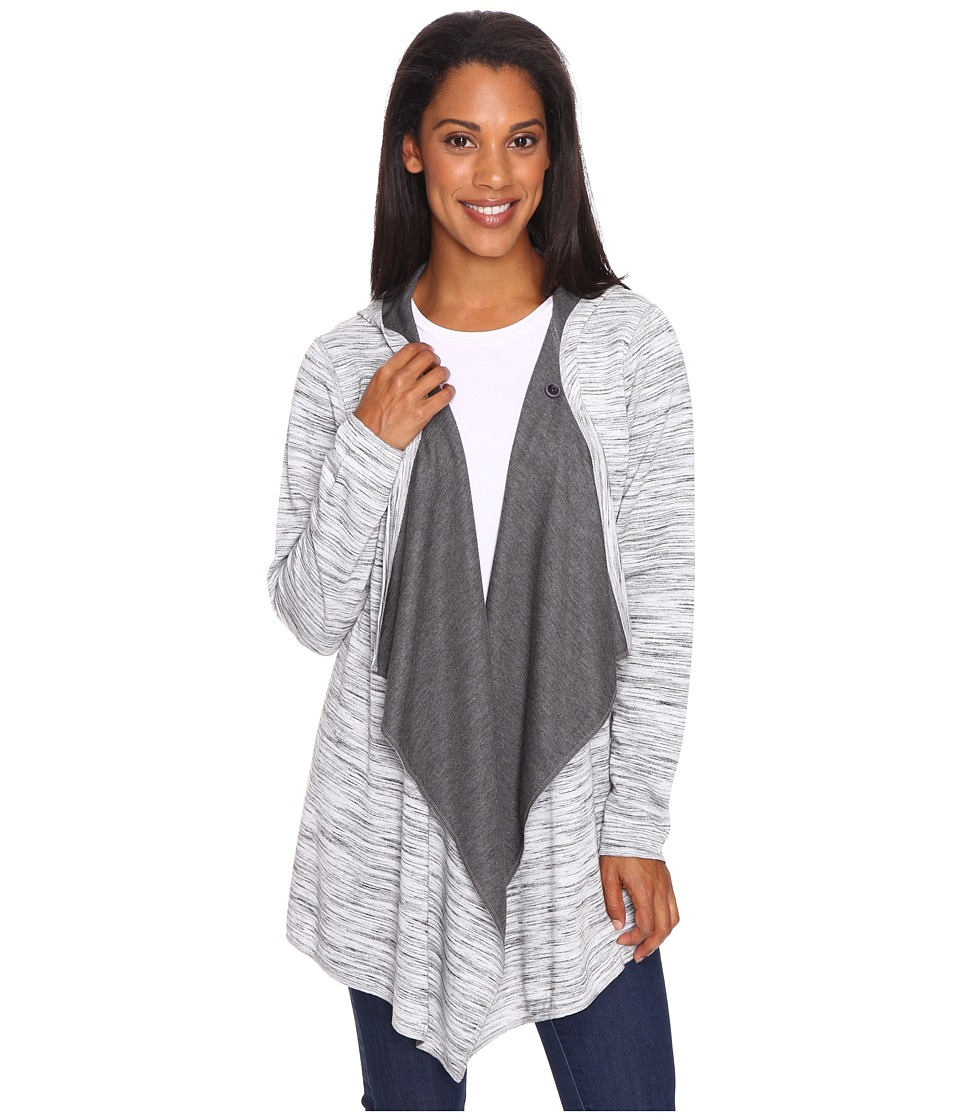 ExOfficio - Adana Reversible Hooded Wrap (Black/Slate/White) Women's Sweater