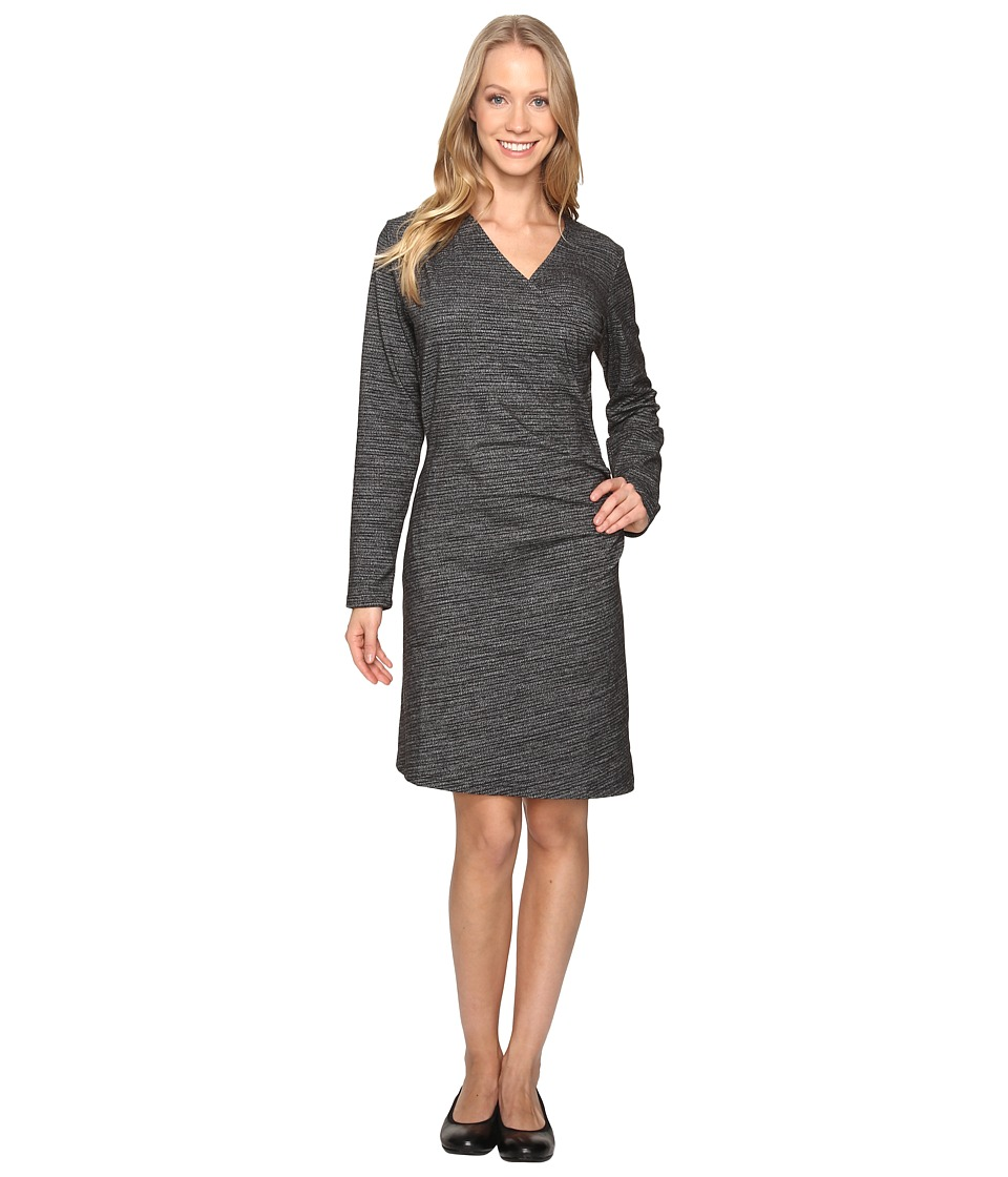 ExOfficio Wanderlux Draped Dress (Charcoal Heather Jacquard) Women