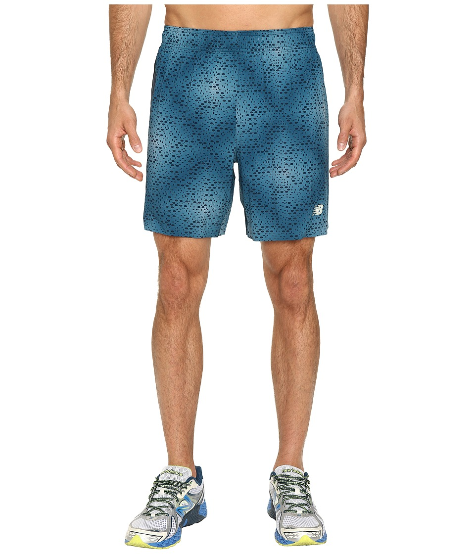 New Balance - 7 Stretch Woven Print Shorts (Castaway/Black) Men's Shorts
