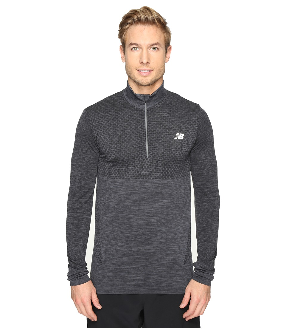 New Balance - M4M Seamless Quarter Zip Top (Black Heather) Men's Long Sleeve Pullover