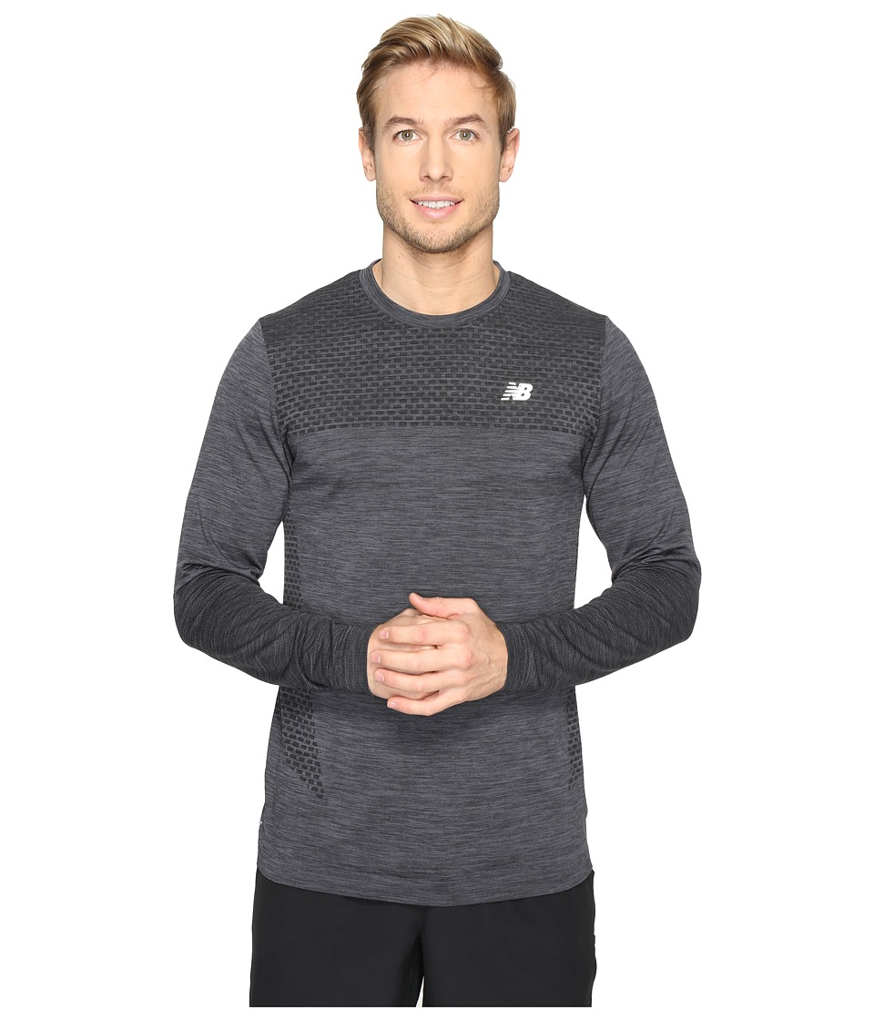 New Balance - M4M Seamless Long Sleeve Top (Black Heather) Men's Long Sleeve Pullover