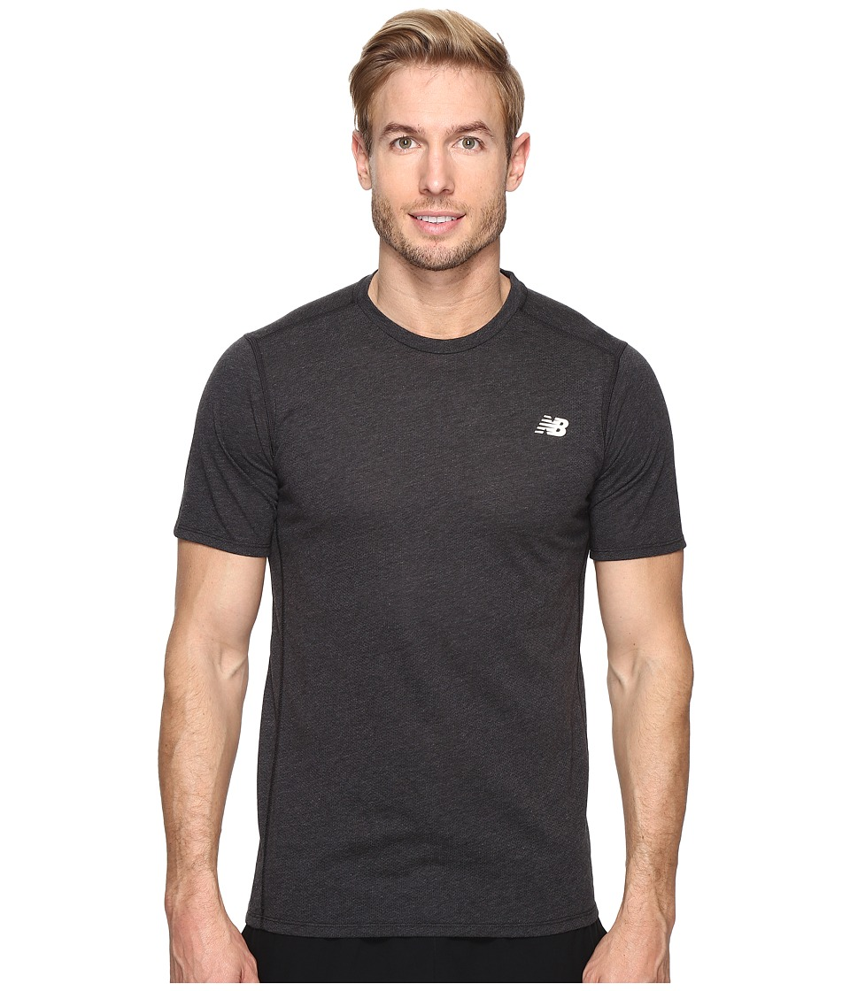 New Balance - Pindot Flux Short Sleeve Top (Black) Men's Short Sleeve Pullover