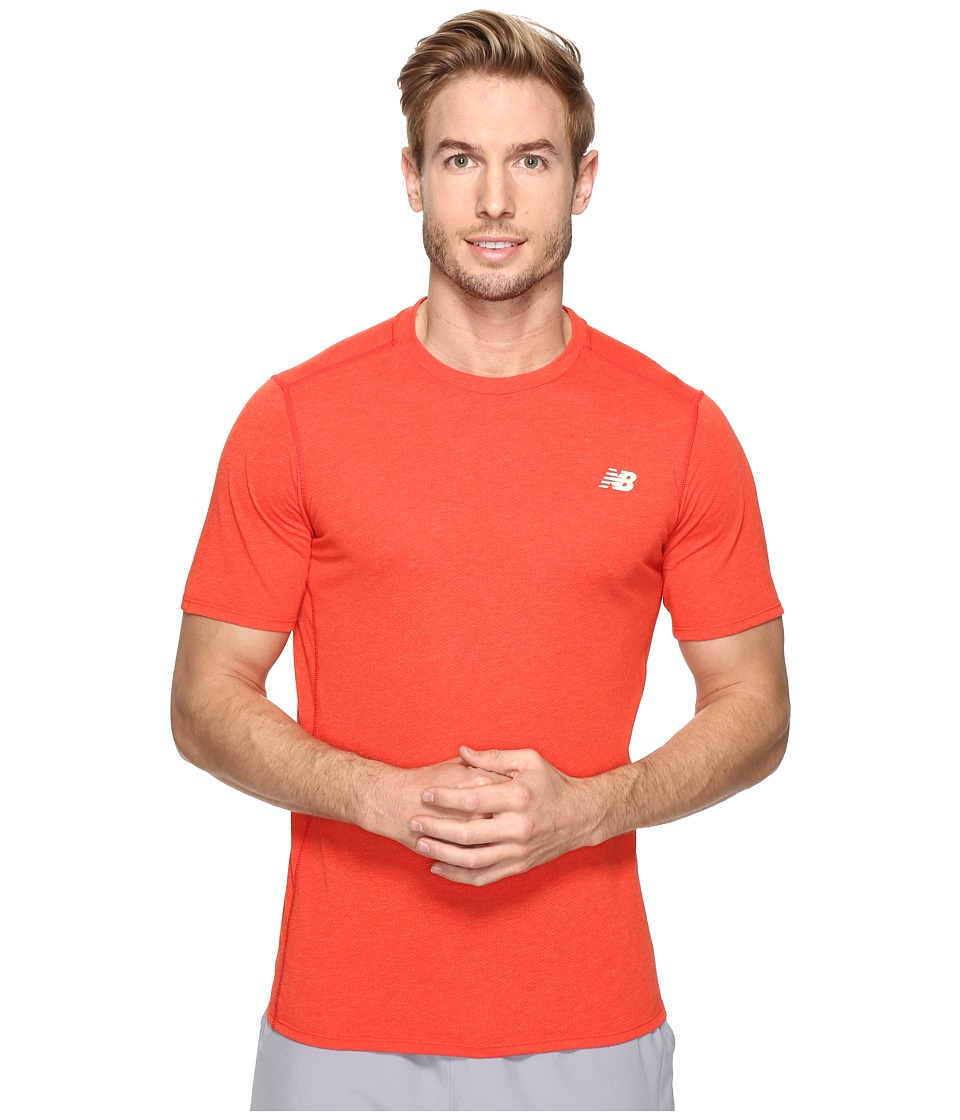 New Balance - Pindot Flux Short Sleeve Top (Atomic) Men's Short Sleeve Pullover