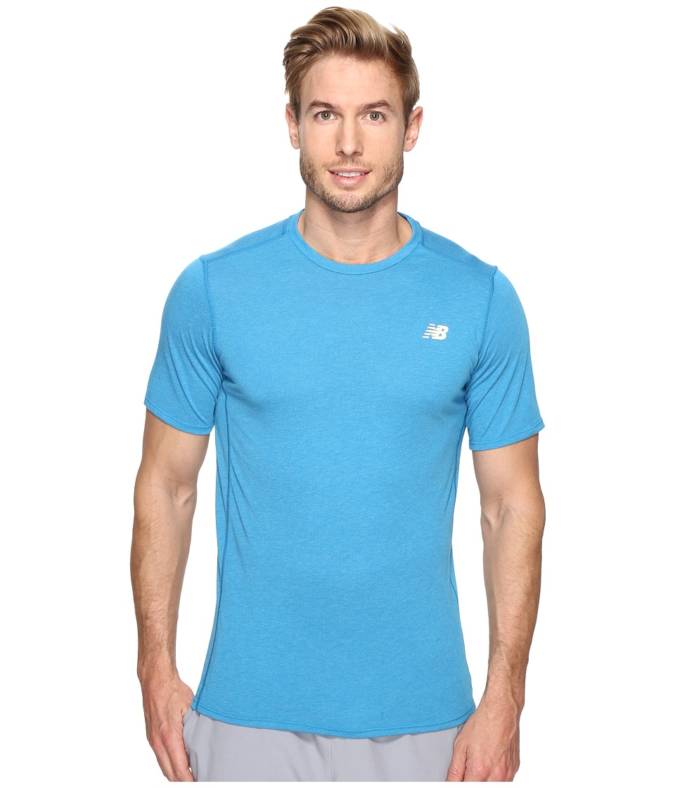 New Balance - Pindot Flux Short Sleeve Top (Barracuda) Men's Short Sleeve Pullover