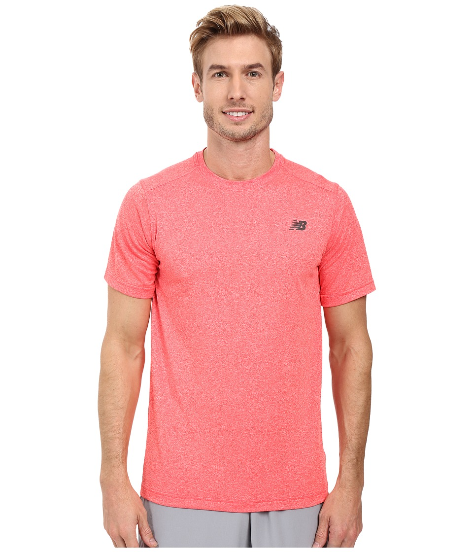 New Balance Short Sleeve Heather Tech Tee (Bright Cherry Heather) Men