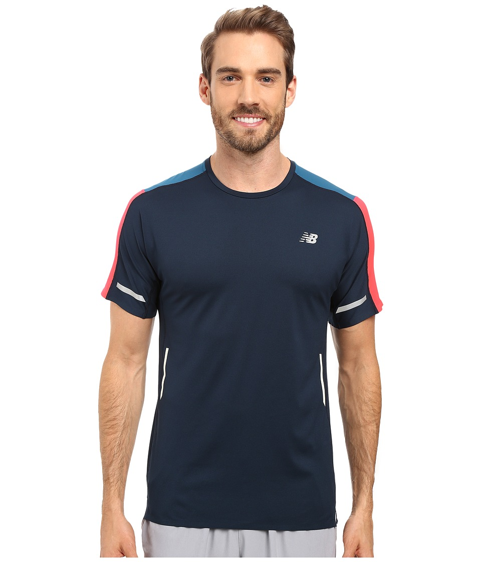 New Balance - Precision Run Short Sleeve Top (Galaxy/Castaway/Bright Cherry) Men's Short Sleeve Pullover