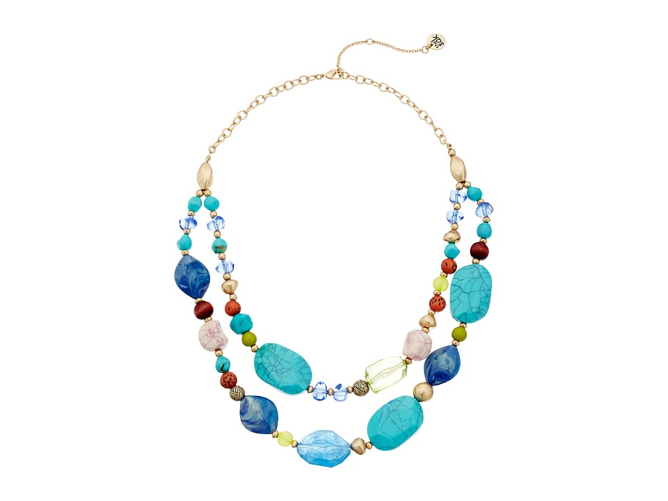 The Sak - Double Row Beaded Necklace 18 (Blue) Necklace