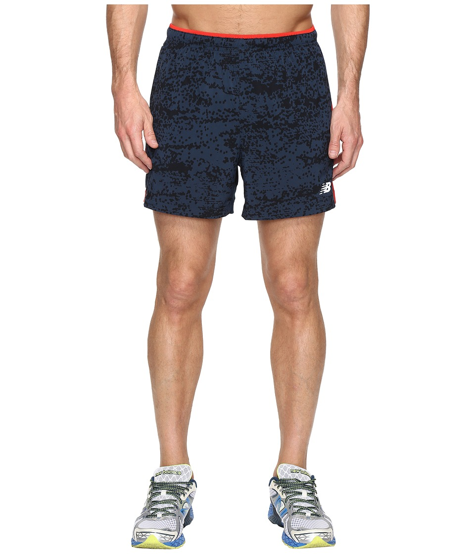 New Balance - Impact 5 Track Shorts (Galaxy Tech Print/Atomic) Men's Shorts