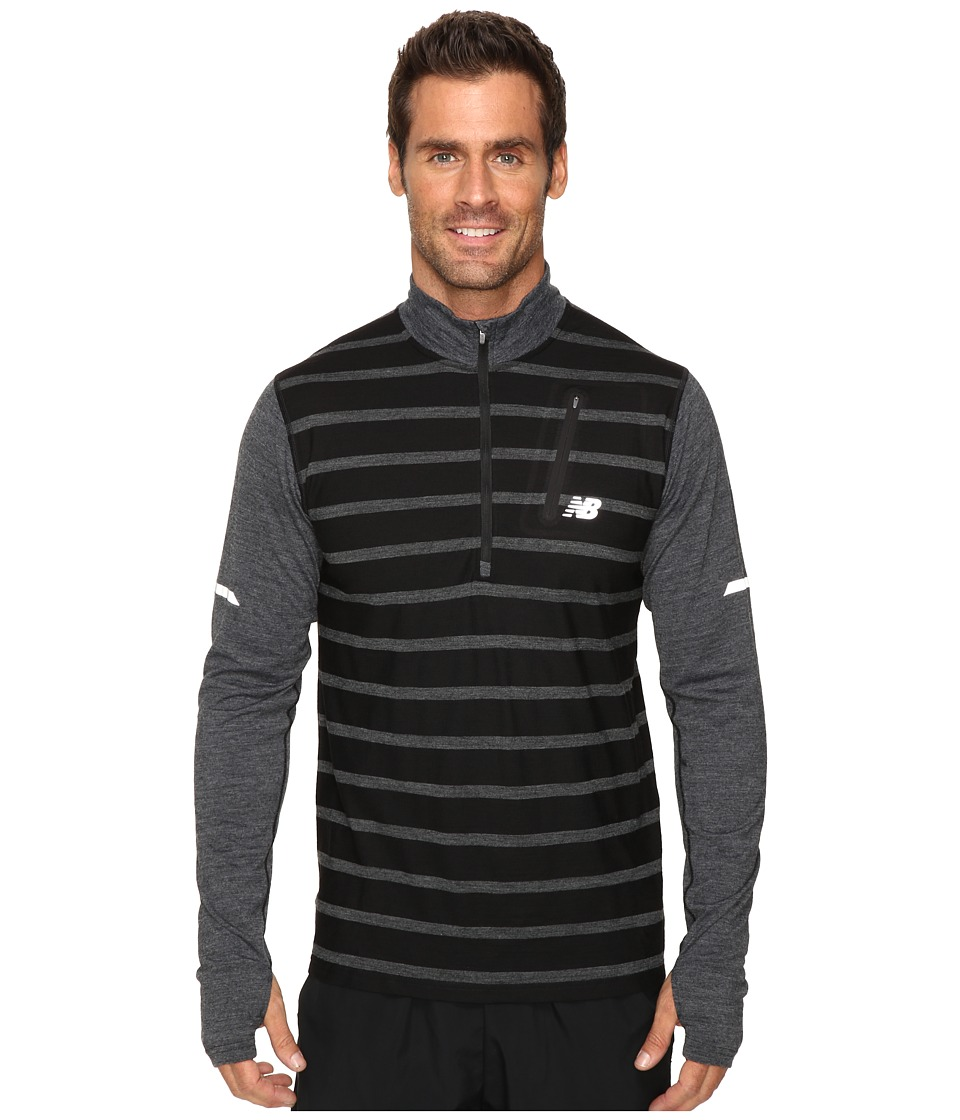 New Balance - Performance Merino Half Zip Top (Black Heather) Men's Long Sleeve Pullover