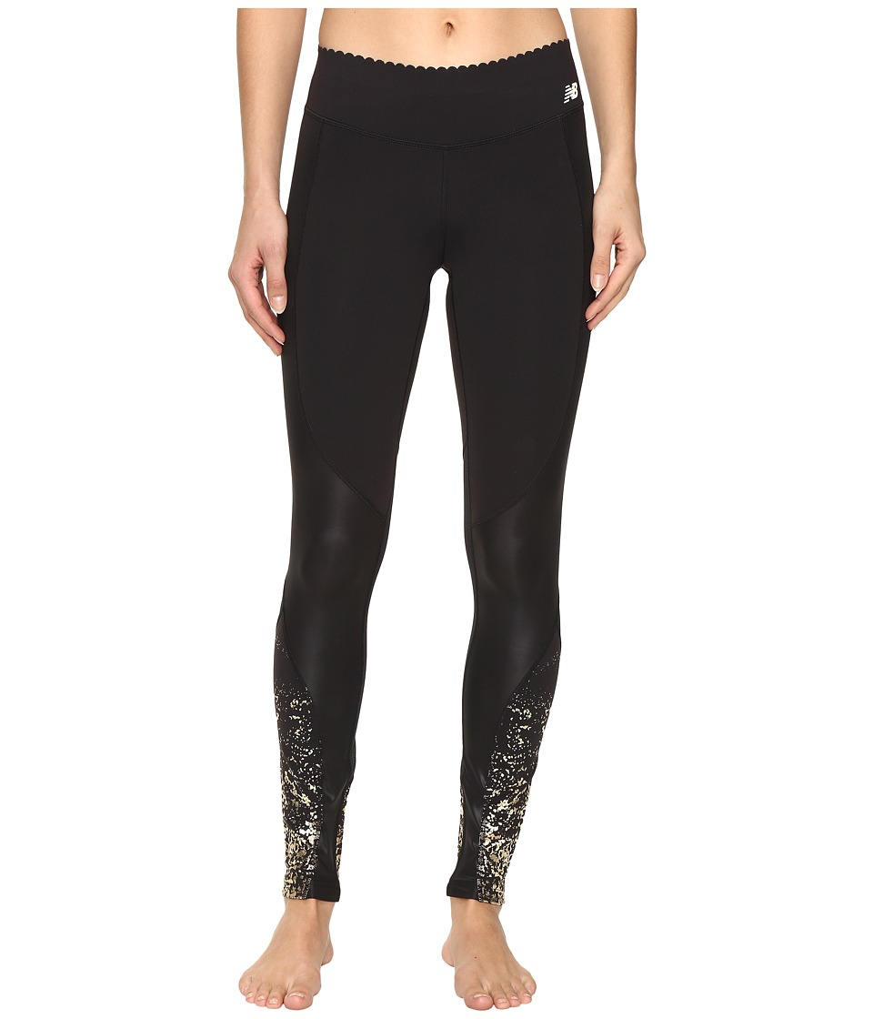 New Balance - Fashion Intensity Tights (Gold Glitter Print/Black) Women's Casual Pants