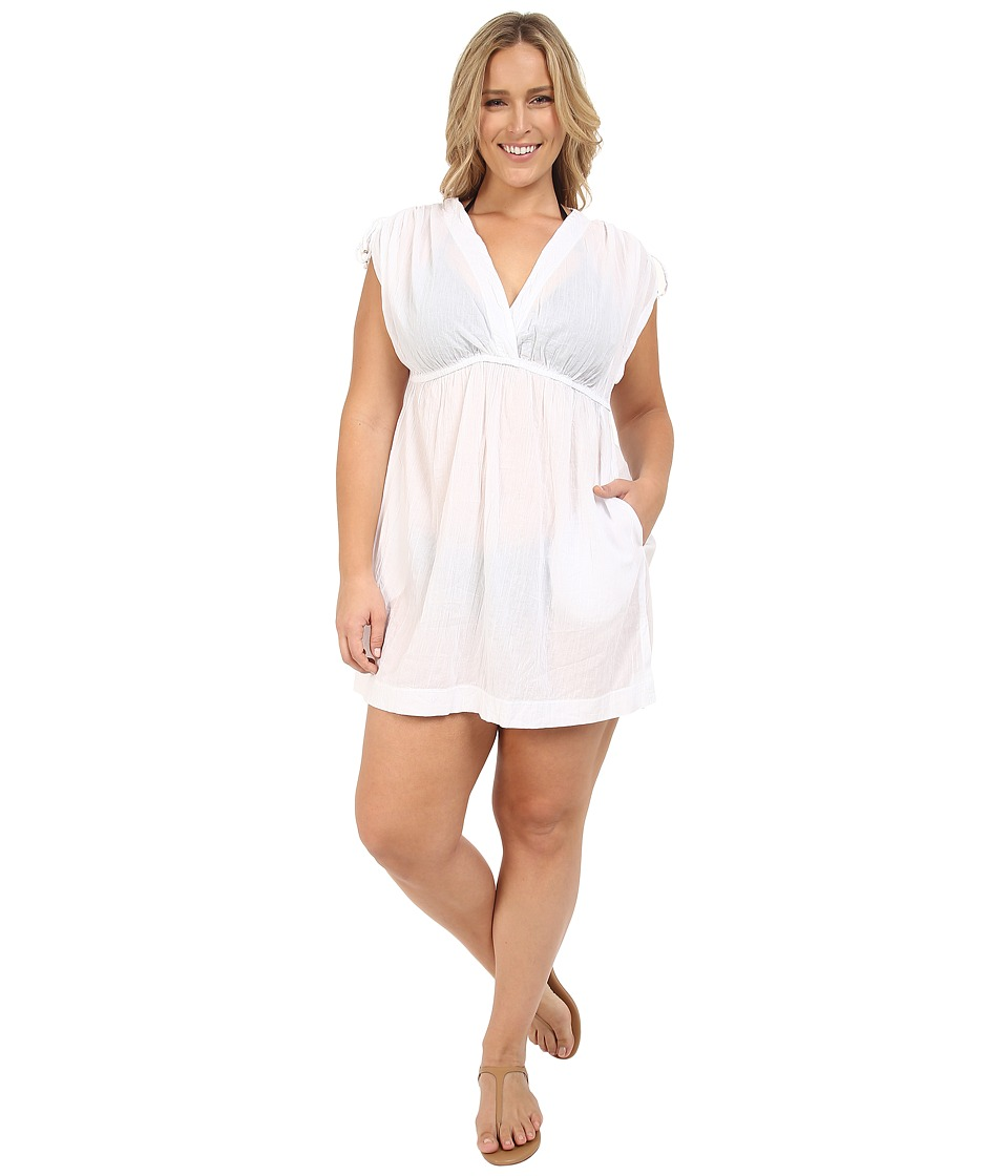LAUREN Ralph Lauren - Plus Size Cotton Farrah Dress Cover-Ups (White) Women's Swimwear plus size,  plus size fashion plus size appare