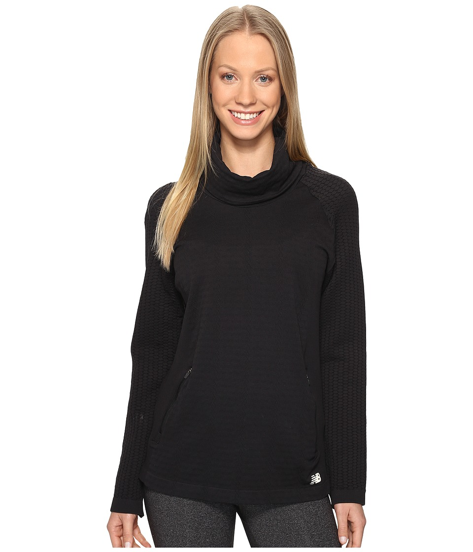 New Balance - M4M Seamless Cable Pullover (Black) Women's Long Sleeve Pullover