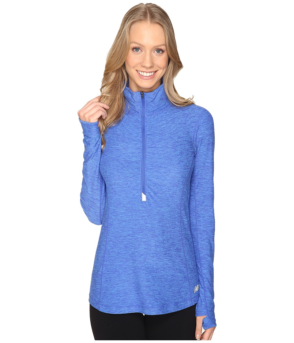 New Balance - In Transit Half Zip Jacket (Bluefin Heather) Women's Long Sleeve Pullover