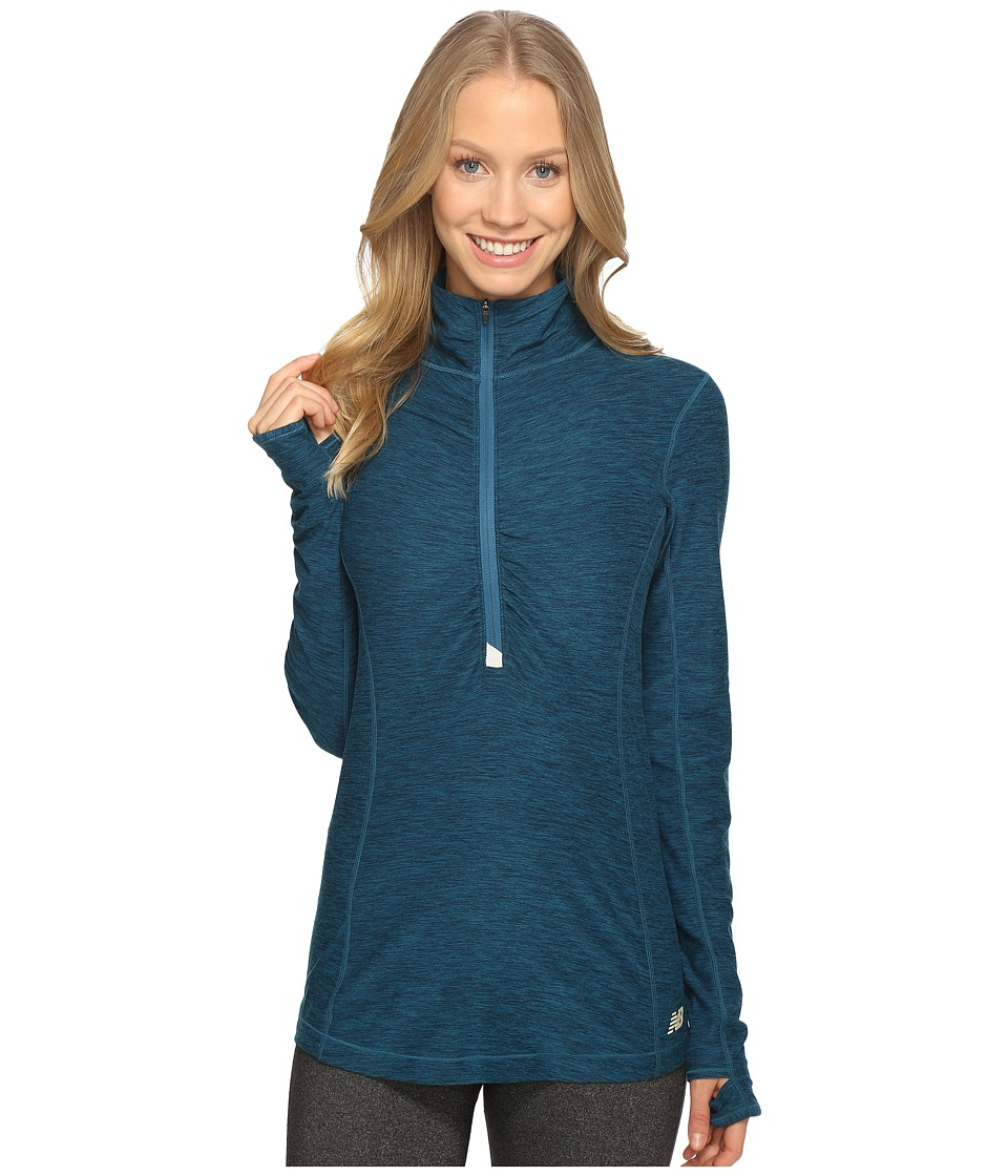New Balance - In Transit Half Zip Jacket (Castaway Heather) Women's Long Sleeve Pullover