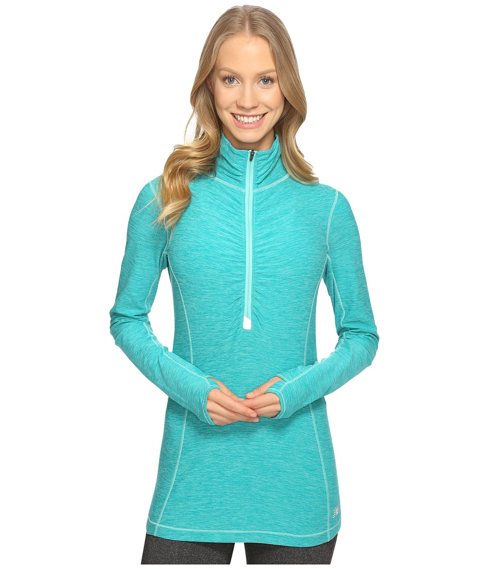 New Balance - In Transit Half Zip Jacket (Aquarius Heather) Women's Long Sleeve Pullover