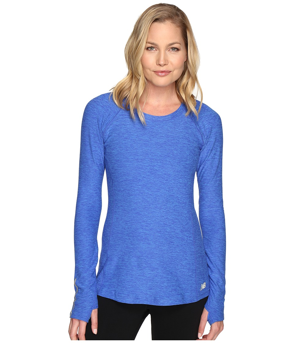 New Balance - In Transit Long Sleeve Top (Bluefin Heather) Women's Long Sleeve Pullover
