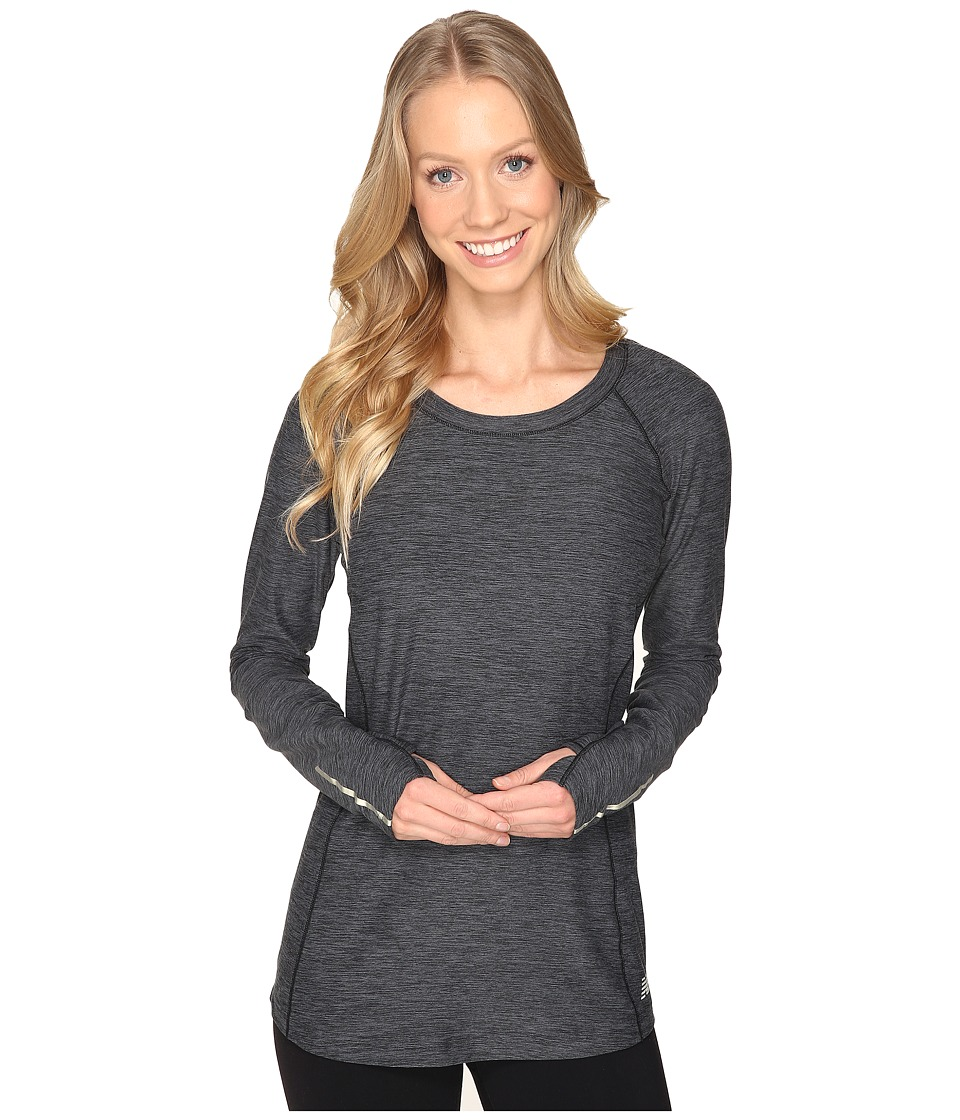 New Balance - In Transit Long Sleeve Top (Black Heather) Women's Long Sleeve Pullover