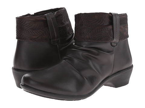 Easy Street - Yvonne (Brown/Tooled Collar) Women's Pull-on Boots