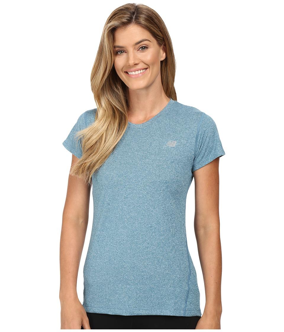 New Balance - Heathered Short Sleeve Tee (Castaway Heather) Women's Short Sleeve Pullover