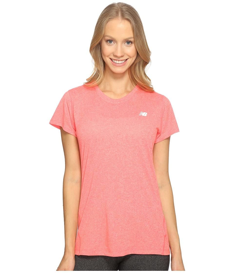 New Balance - Heathered Short Sleeve Tee (Guava Heather) Women's Short Sleeve Pullover