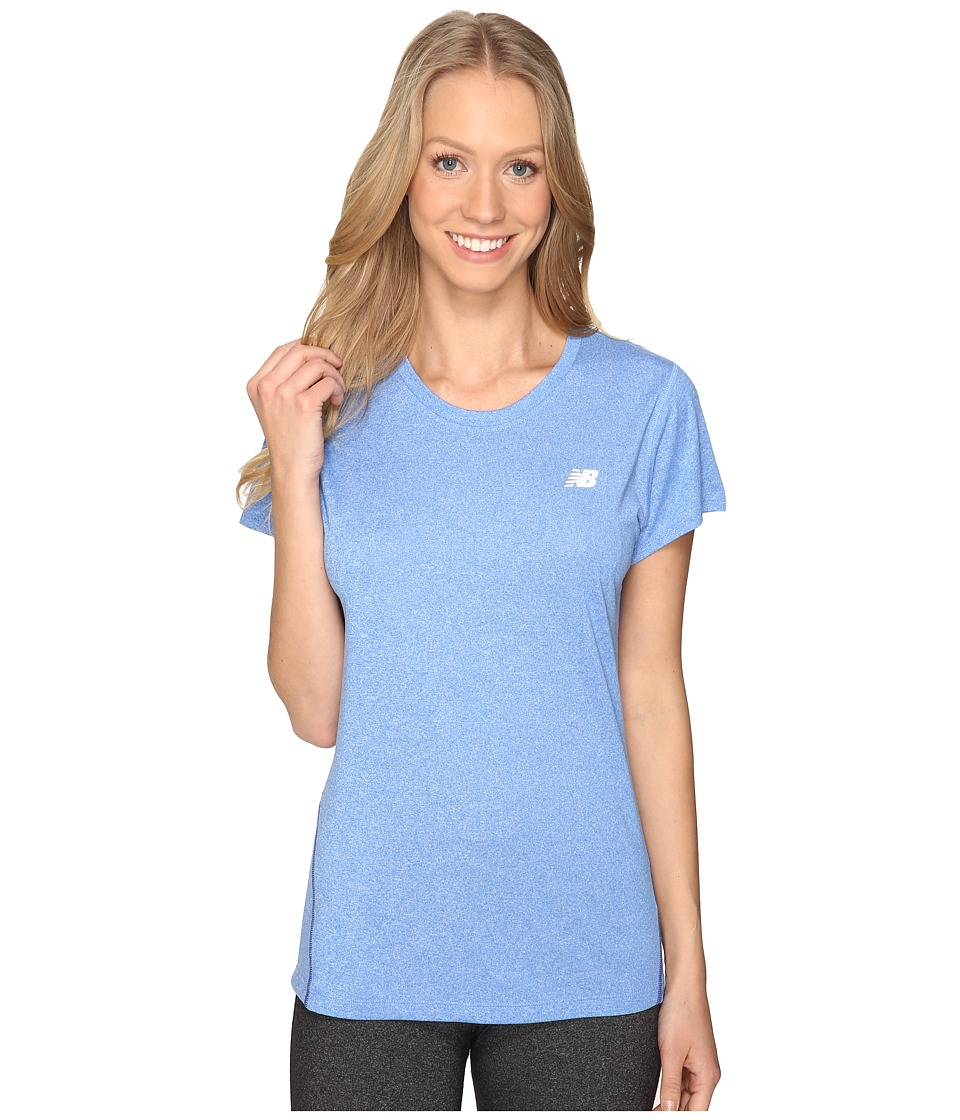 New Balance - Heathered Short Sleeve Tee (Majestic Blue Heather) Women's Short Sleeve Pullover
