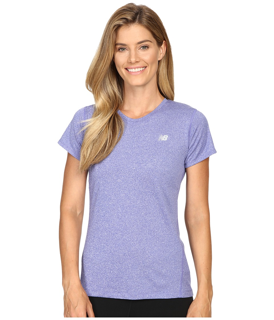New Balance - Heathered Short Sleeve Tee (Spectral Heather) Women's Short Sleeve Pullover