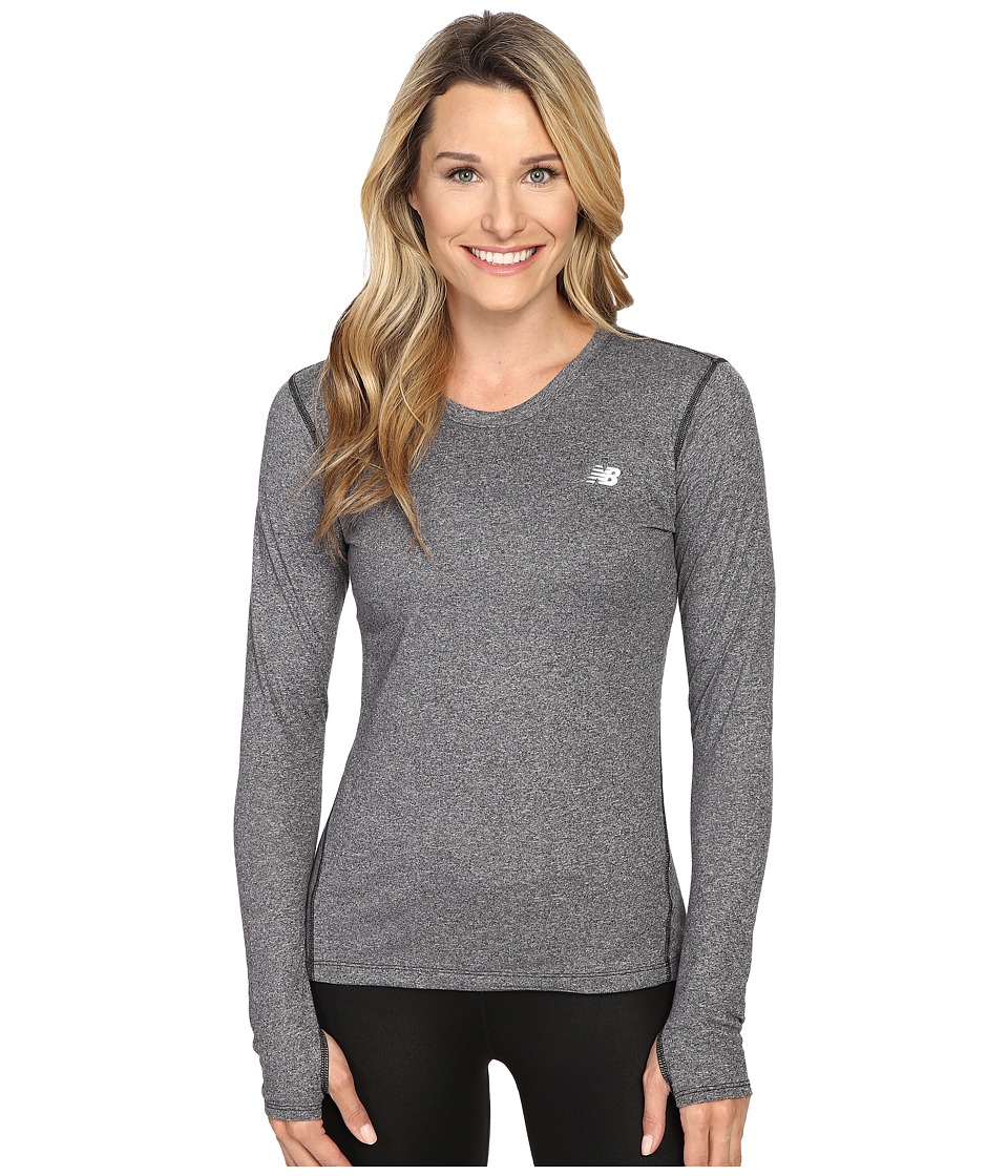 New Balance - Heathered Long Sleeve Shirt (Black Heather) Women's Long Sleeve Pullover