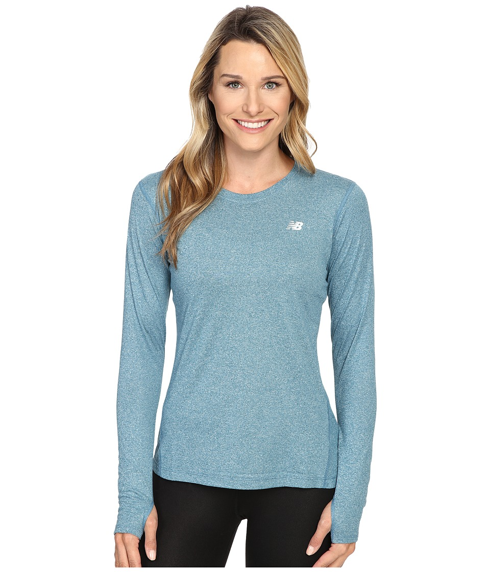 New Balance - Heathered Long Sleeve Shirt (Castaway Heather) Women's Long Sleeve Pullover