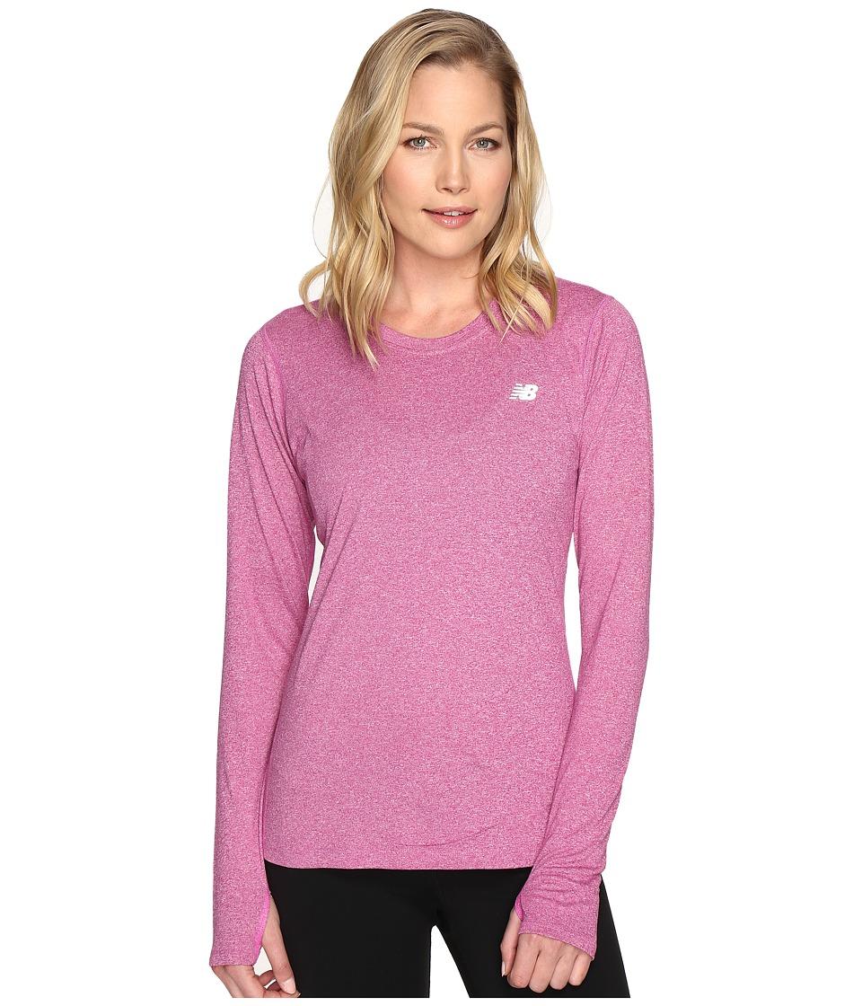 New Balance - Heathered Long Sleeve Shirt (Jewel Heather) Women's Long Sleeve Pullover