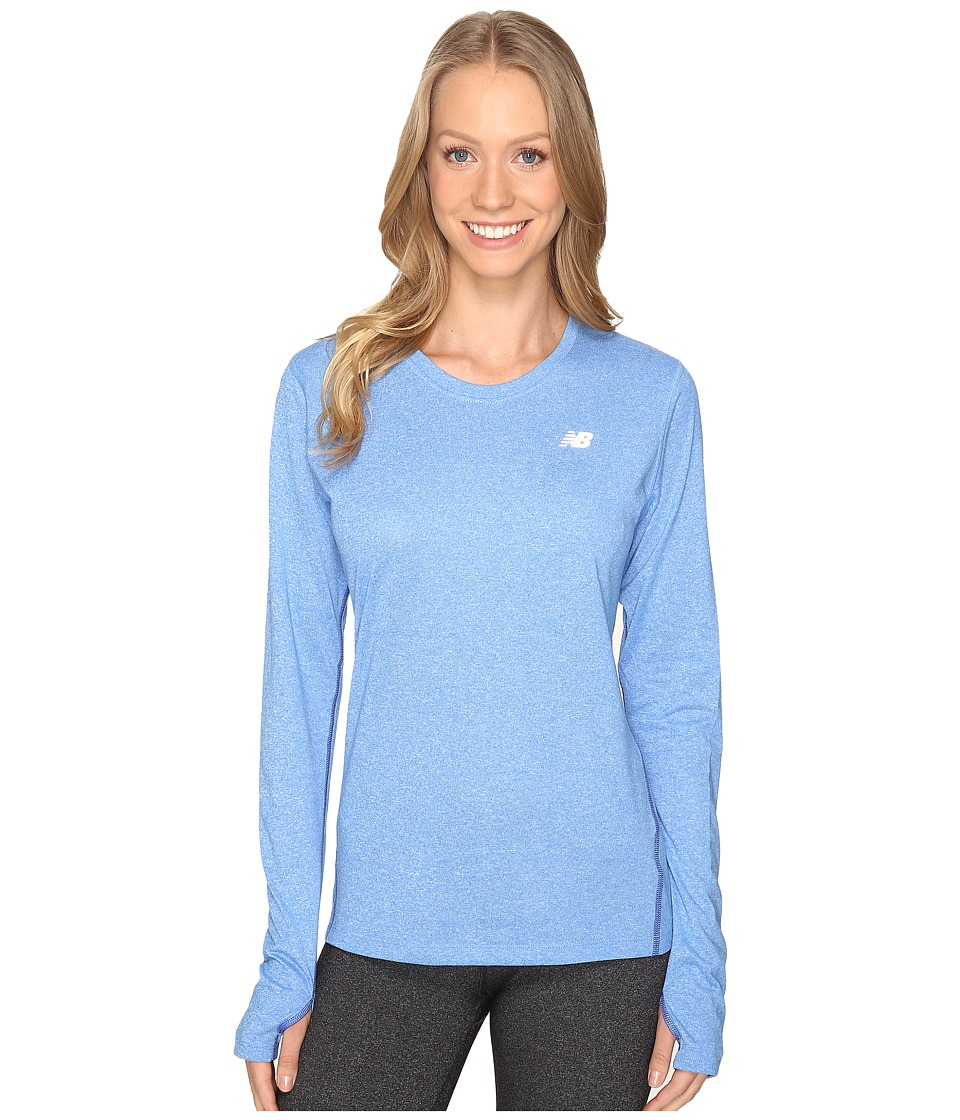 New Balance - Heathered Long Sleeve Shirt (Majestic Heather) Women's Long Sleeve Pullover