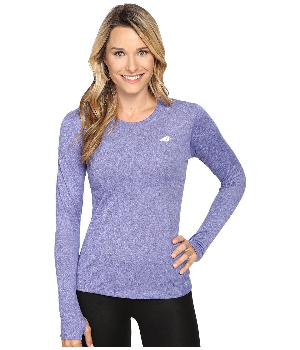 New Balance - Heathered Long Sleeve Shirt (Spectral Heather) Women's Long Sleeve Pullover