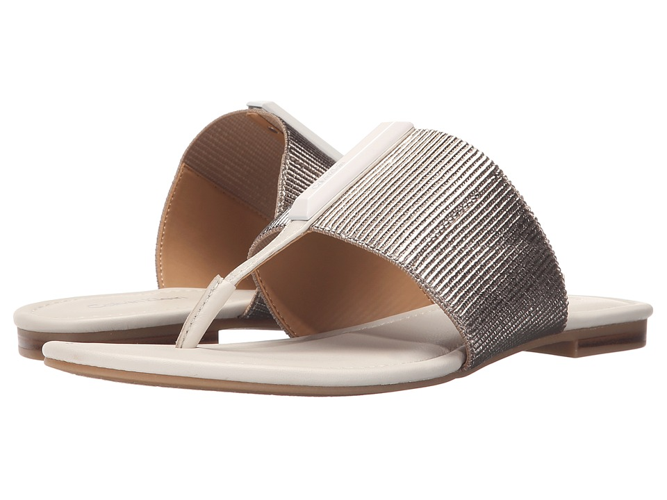 Calvin Klein - Bonni (Soft Platinum /Soft White Elastic/Leather) Women's Sandals