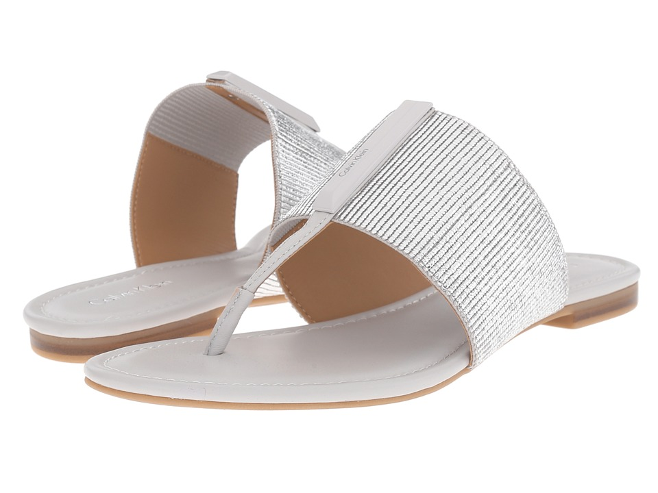 Calvin Klein - Bonni (Silver/Oyster Elastic/Leather) Women's Sandals