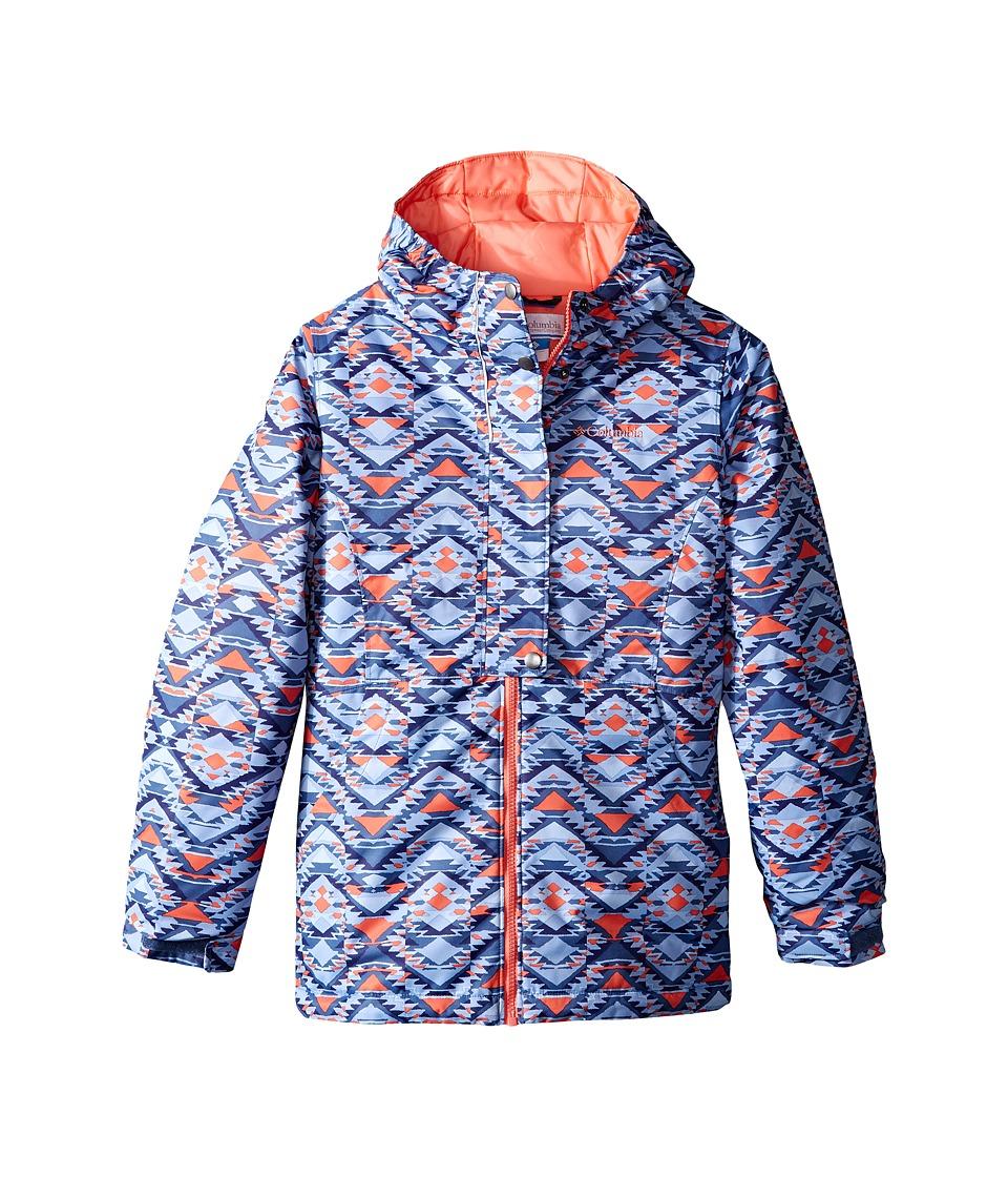 Columbia Kids Snowcation Nation Jacket (Little Kids/Big Kids) (Bluebell Southwestern Print/Hot Coral) Girl