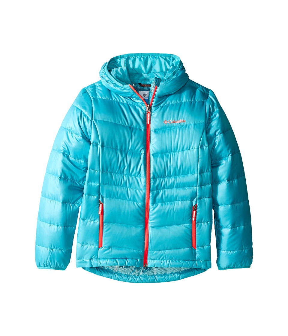 Columbia Kids - Gold 550 TurboDown Hooded Down Jacket (Little Kids/Big Kids) (Miami/Laser Red) Girl's Coat