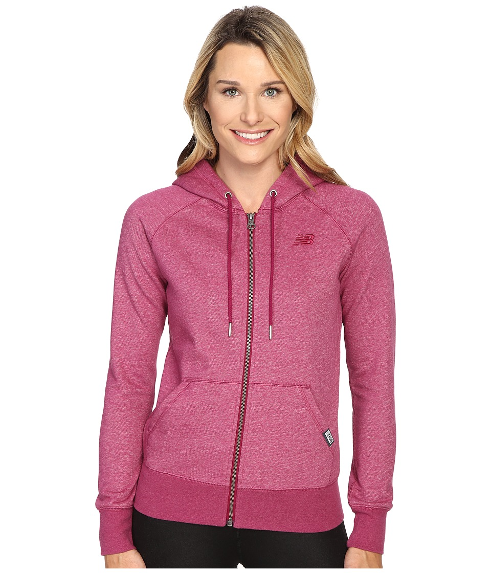 New Balance Classic Full Zip Hoodie (Deep Jewel Heather) Women