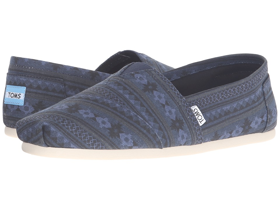 TOMS - Seasonal Classics (Navy Blanket Stripe Print) Men's Slip on Shoes