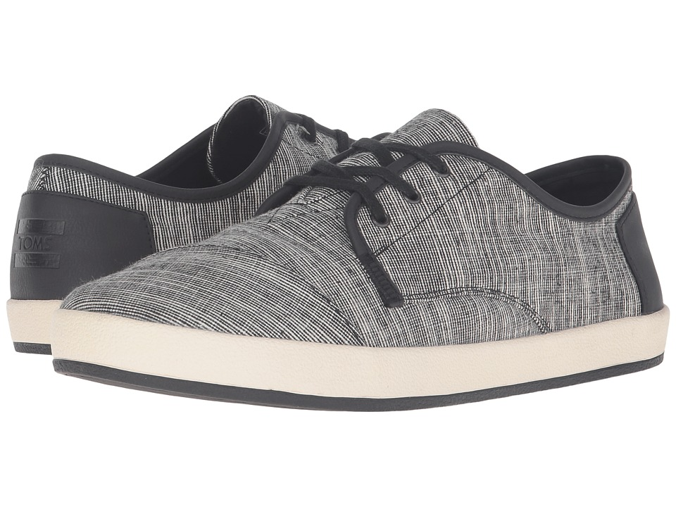 TOMS - Paseo (Black/White Linen) Men's Lace up casual Shoes