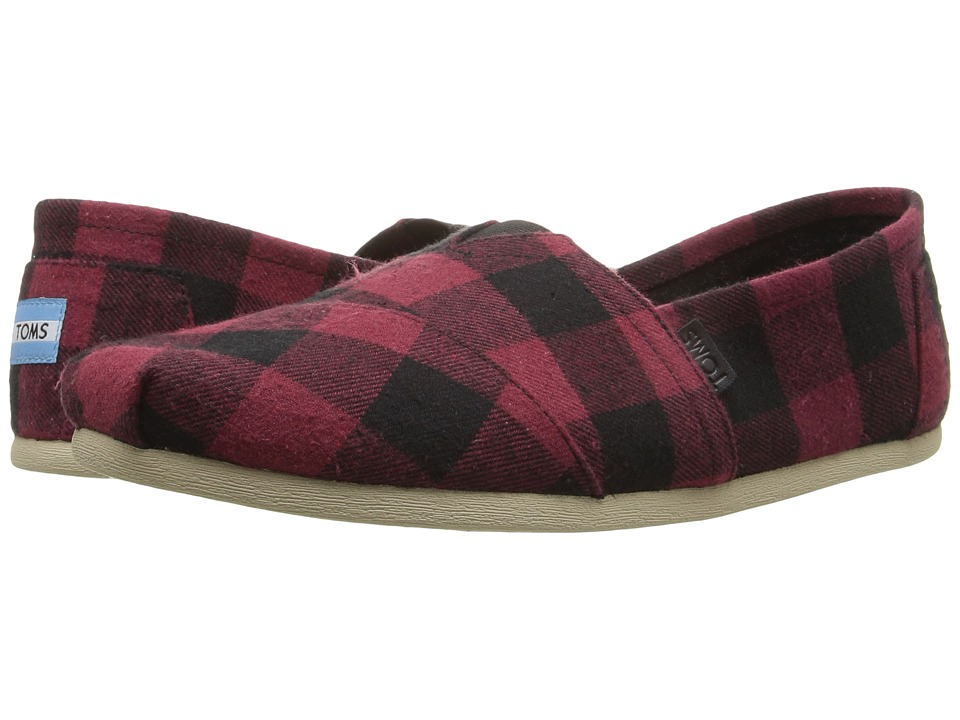 TOMS - Seasonal Classics (Red/Black Plaid) Men's Slip on Shoes