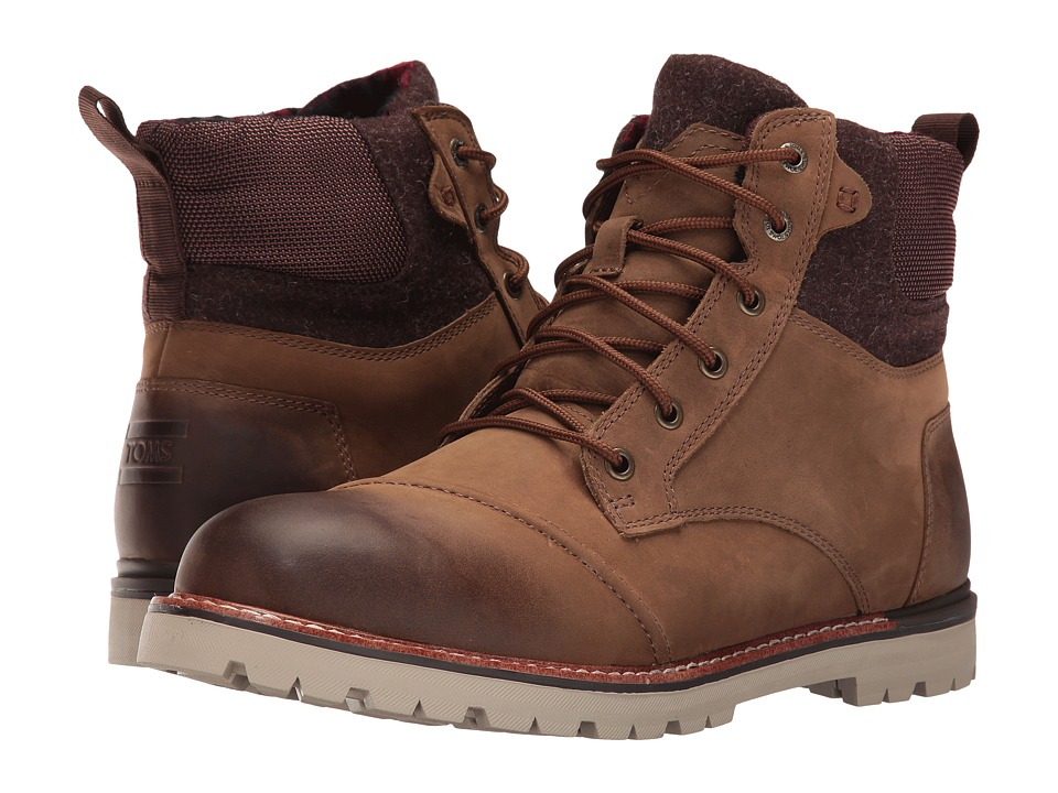 TOMS - Ashland Boot (Brown Burnished Leather/Wool) Men's Lace-up Boots