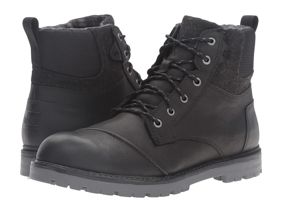 TOMS Ashland Boot (Black Leather/Herringbone) Men